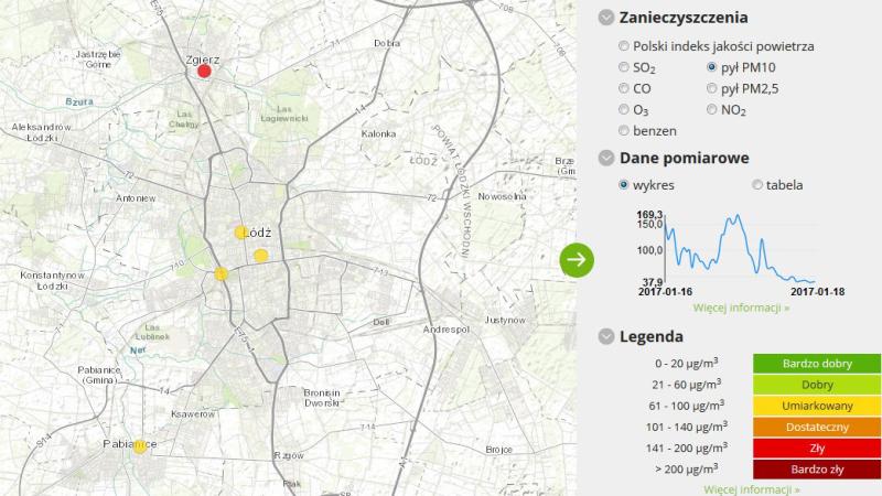 Jakość powietrza w Łodzi