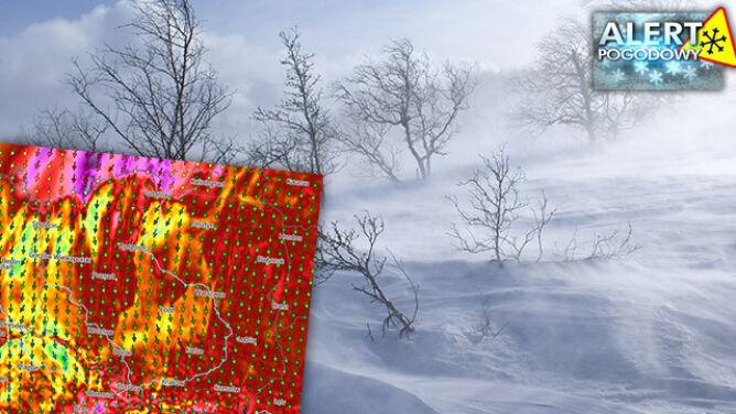 Silny wiatr. Na Śnieżce porywy do 100 km/h