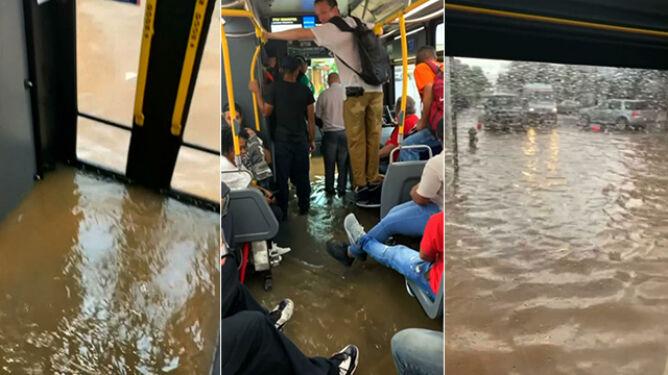 Woda zalała ulice, błyskawicznie wdarła się do autobusu