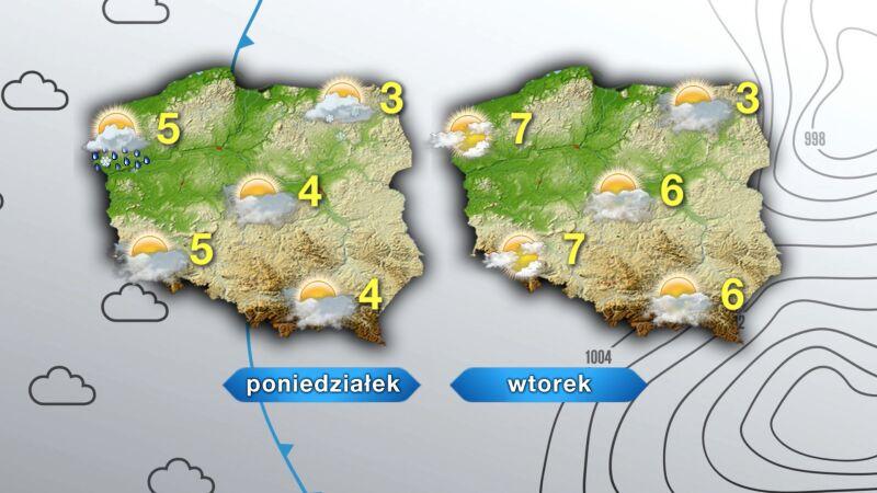 Pogoda na poniedziałek i wtorek