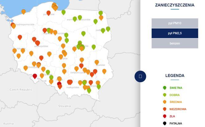 Stężenie pyłu PM2,5 w czwartek o godzinie 9 (tvnmeteo.pl za GIOŚ)