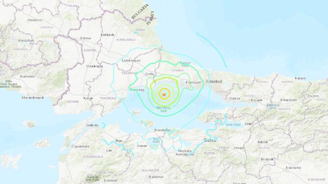 Trzęsienie ziemi w okolicach Stambułu (USGS)